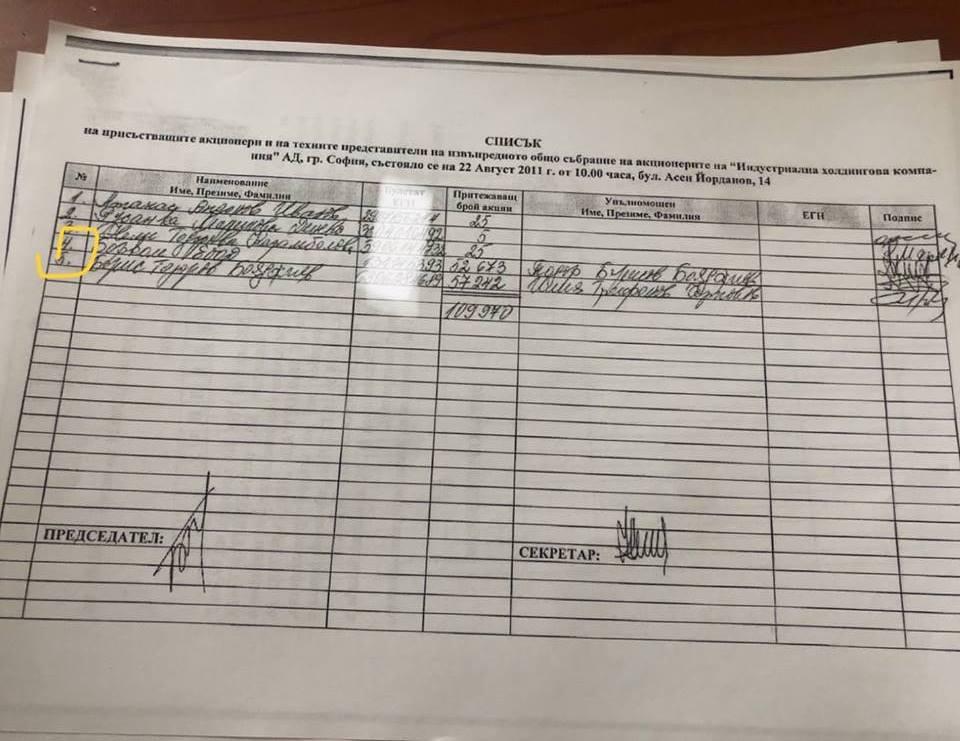 """Списък на кредиторите от 2011г. за ликвидацията на  фонда за масова приватизация """"Свети Никола"""" прекръстен на """"Индустриална Холдингова Компания"""", след което всичко отива при Борис Бояджиев и семейството му и нищо при работниците на """"Елма-АД""""."""